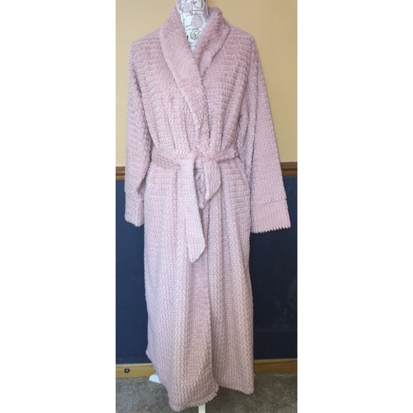 e8612a742c SOMA PLUSH TEXTURED LONG ROBE VINTAGE PINK